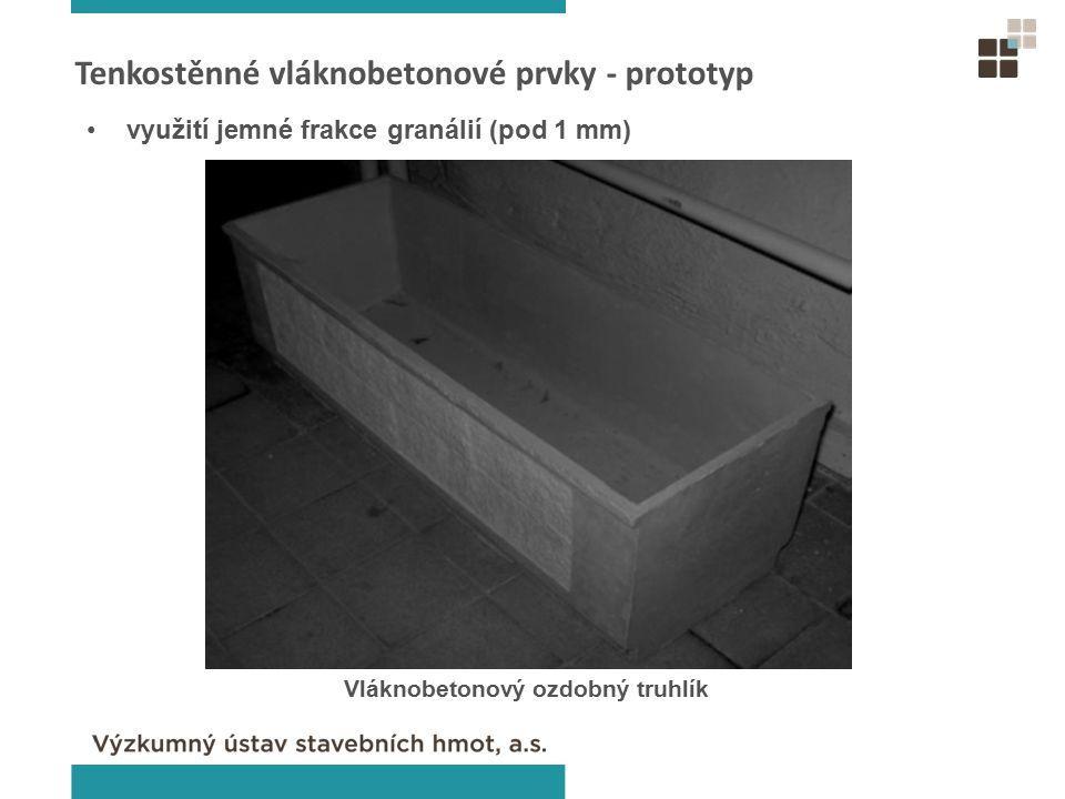 Tenkostěnné vláknobetonové prvky - prototyp Vláknobetonový ozdobný truhlík využití jemné frakce granálií (pod 1 mm)