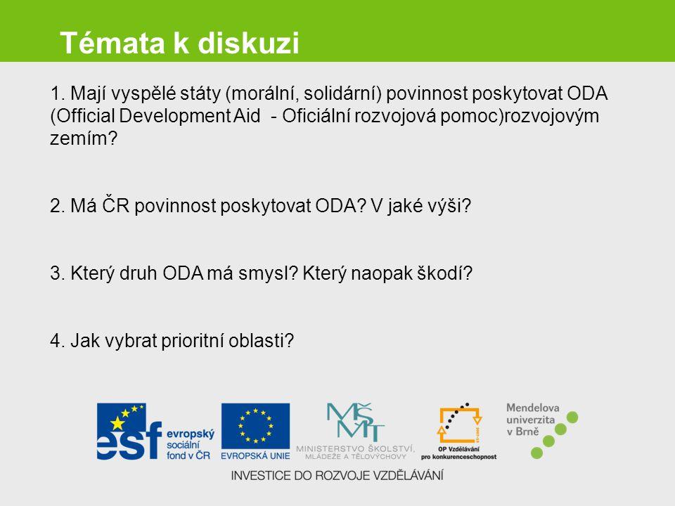 Témata k diskuzi 1. Mají vyspělé státy (morální, solidární) povinnost poskytovat ODA (Official Development Aid - Oficiální rozvojová pomoc)rozvojovým