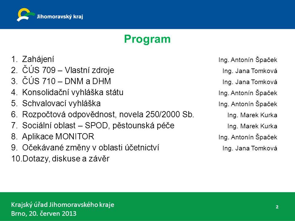 Krajský úřad Jihomoravského kraje Brno, 20. červen 2013 Program 1.Zahájení Ing.