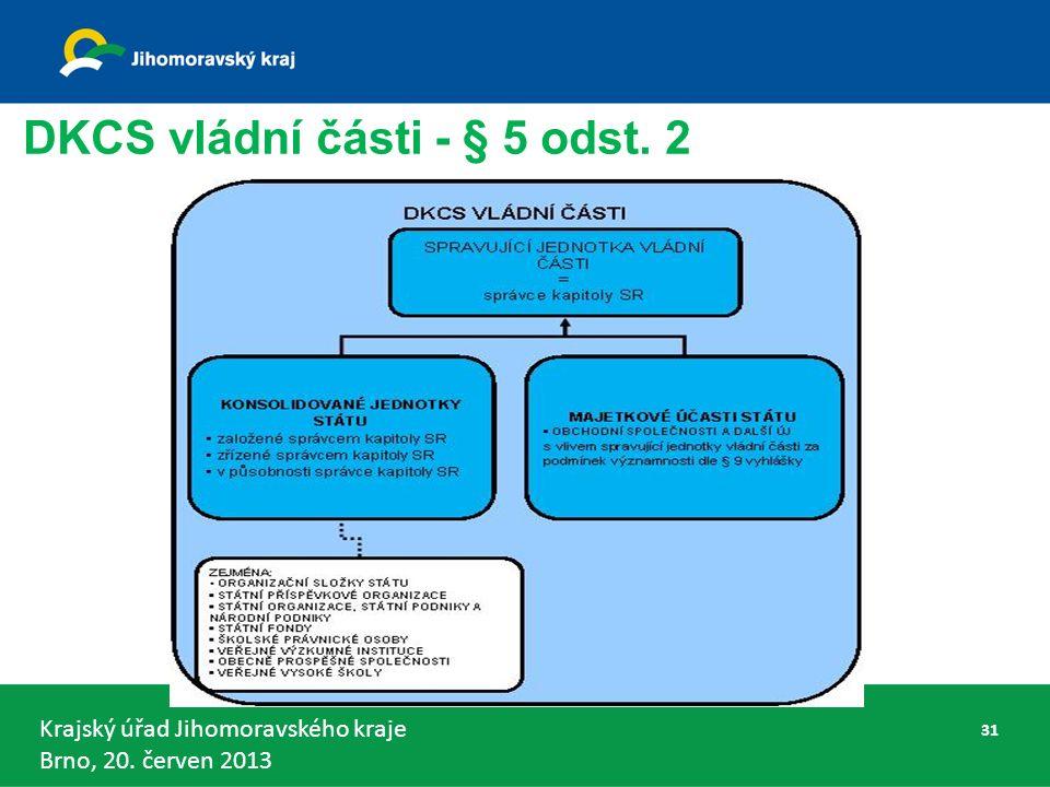 Krajský úřad Jihomoravského kraje Brno, 20. červen 2013 DKCS vládní části - § 5 odst. 2 31