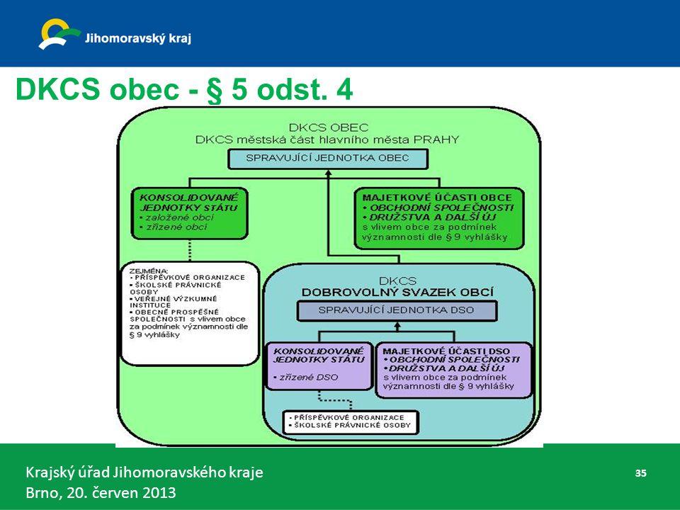 Krajský úřad Jihomoravského kraje Brno, 20. červen 2013 DKCS obec - § 5 odst. 4 35