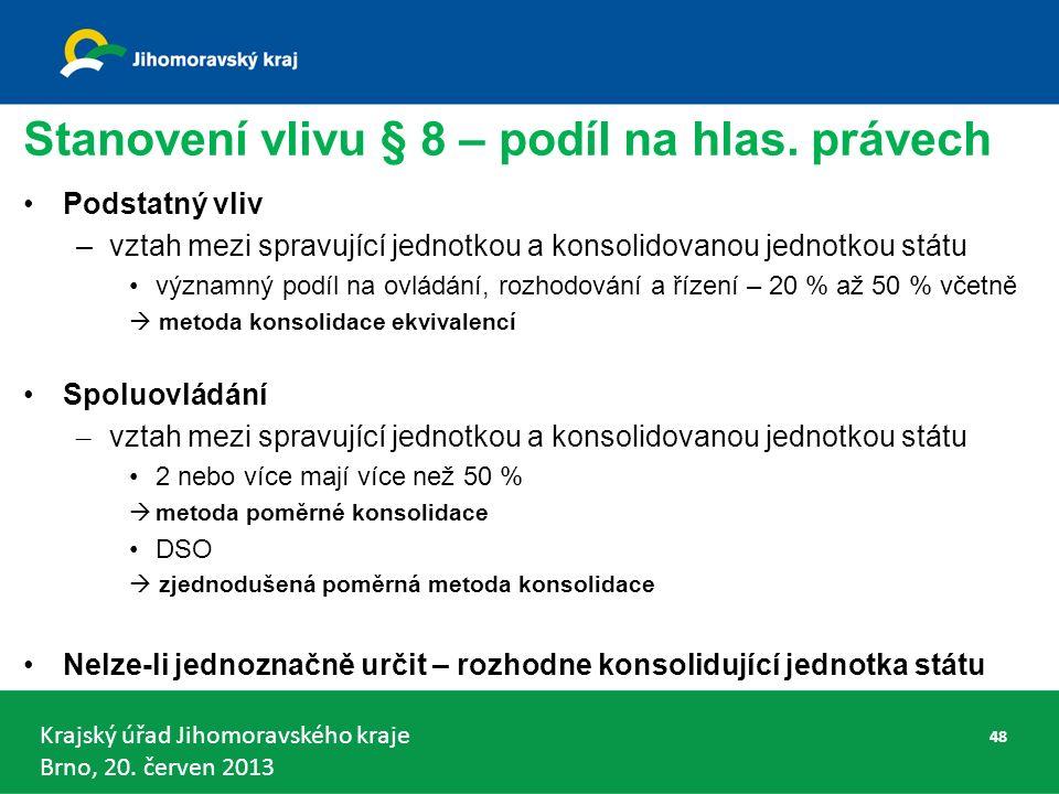 Krajský úřad Jihomoravského kraje Brno, 20. červen 2013 Stanovení vlivu § 8 – podíl na hlas.
