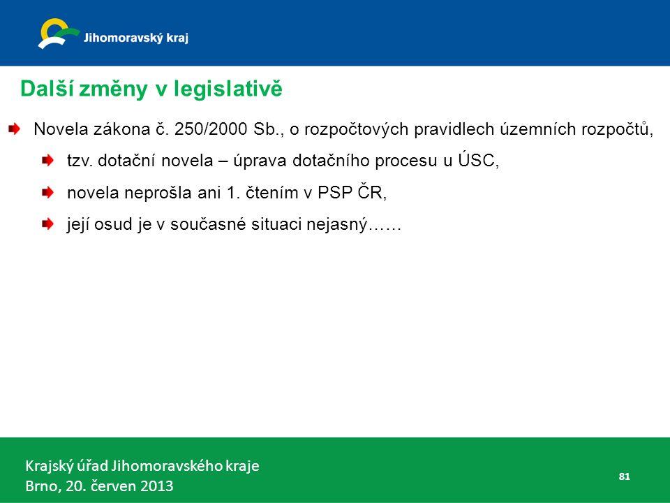 Krajský úřad Jihomoravského kraje Brno, 20. červen 2013 Další změny v legislativě Novela zákona č.
