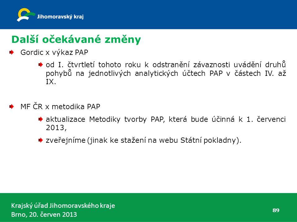 Krajský úřad Jihomoravského kraje Brno, 20. červen 2013 89 Gordic x výkaz PAP od I.