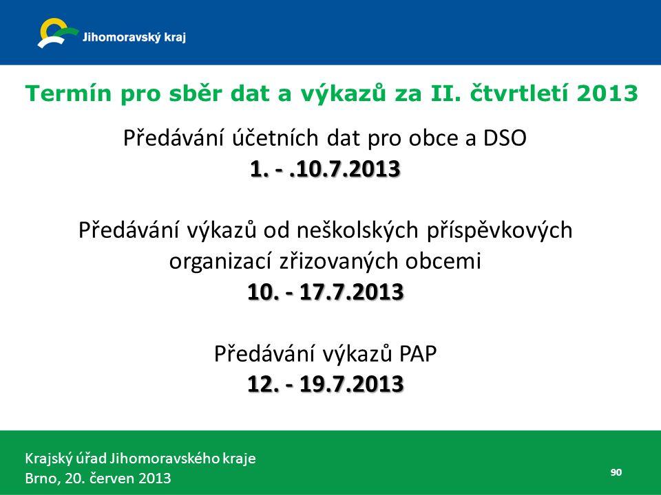 Krajský úřad Jihomoravského kraje Brno, 20. červen 2013 Předávání účetních dat pro obce a DSO 1.