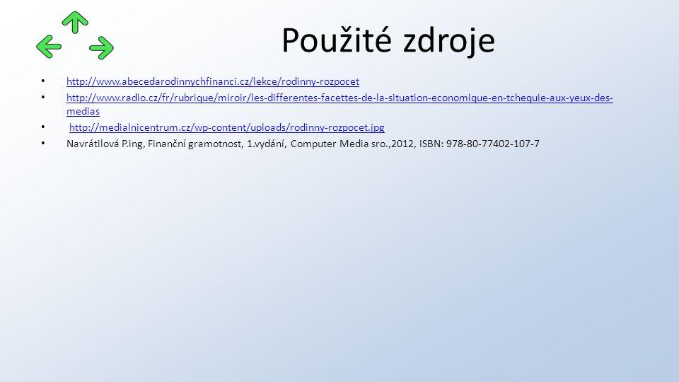 http://www.abecedarodinnychfinanci.cz/lekce/rodinny-rozpocet http://www.radio.cz/fr/rubrique/miroir/les-differentes-facettes-de-la-situation-economique-en-tchequie-aux-yeux-des- medias http://www.radio.cz/fr/rubrique/miroir/les-differentes-facettes-de-la-situation-economique-en-tchequie-aux-yeux-des- medias http://medialnicentrum.cz/wp-content/uploads/rodinny-rozpocet.jpg Navrátilová P.ing, Finanční gramotnost, 1.vydání, Computer Media sro.,2012, ISBN: 978-80-77402-107-7 Použité zdroje
