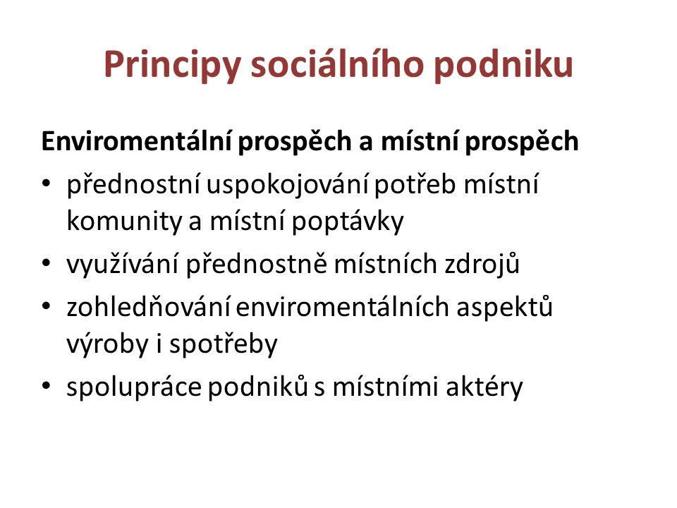 Principy sociálního podniku Enviromentální prospěch a místní prospěch přednostní uspokojování potřeb místní komunity a místní poptávky využívání přednostně místních zdrojů zohledňování enviromentálních aspektů výroby i spotřeby spolupráce podniků s místními aktéry