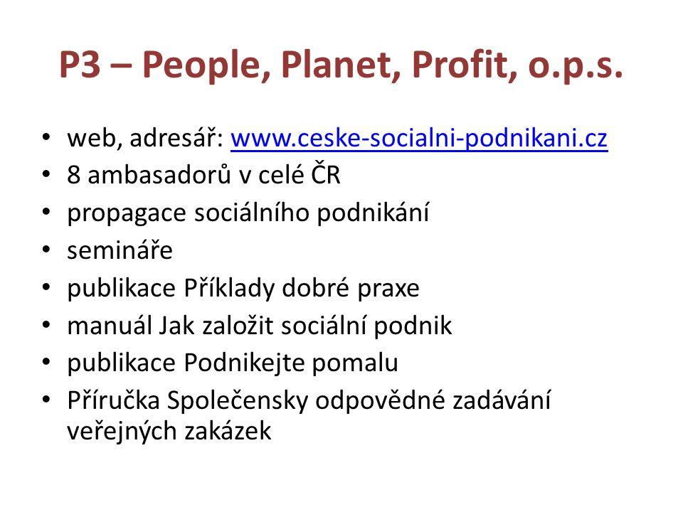 P3 – People, Planet, Profit, o.p.s. web, adresář: www.ceske-socialni-podnikani.czwww.ceske-socialni-podnikani.cz 8 ambasadorů v celé ČR propagace soci