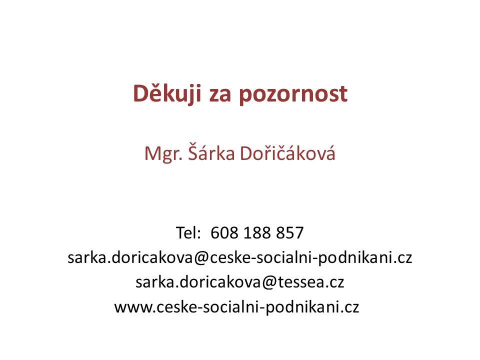 Děkuji za pozornost Mgr. Šárka Dořičáková Tel: 608 188 857 sarka.doricakova@ceske-socialni-podnikani.cz sarka.doricakova@tessea.cz www.ceske-socialni-