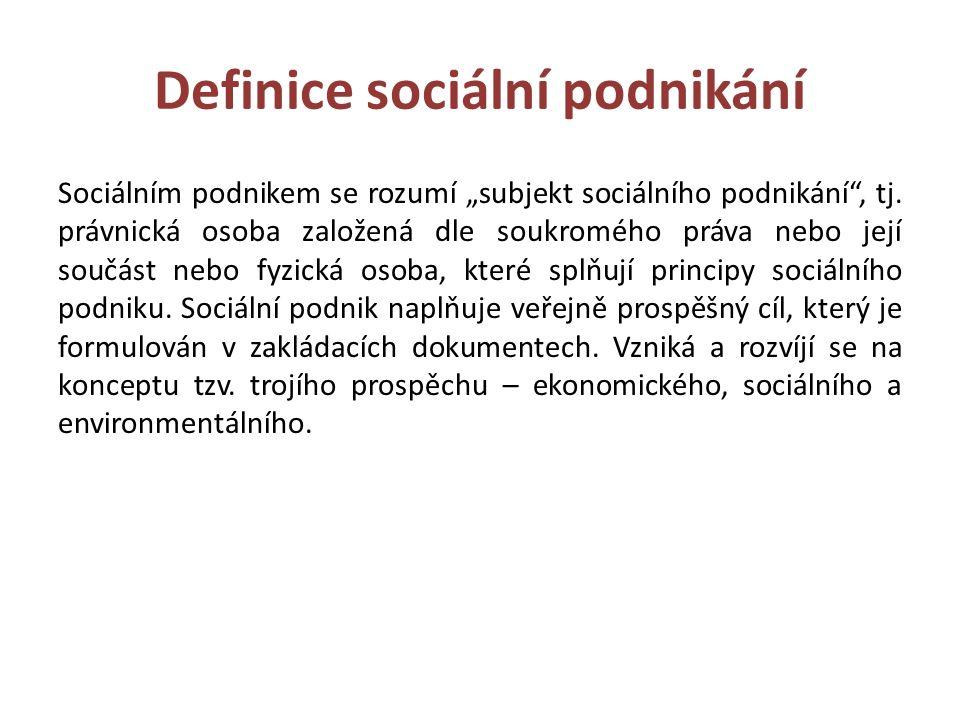 """Definice sociální podnikání Sociálním podnikem se rozumí """"subjekt sociálního podnikání , tj."""