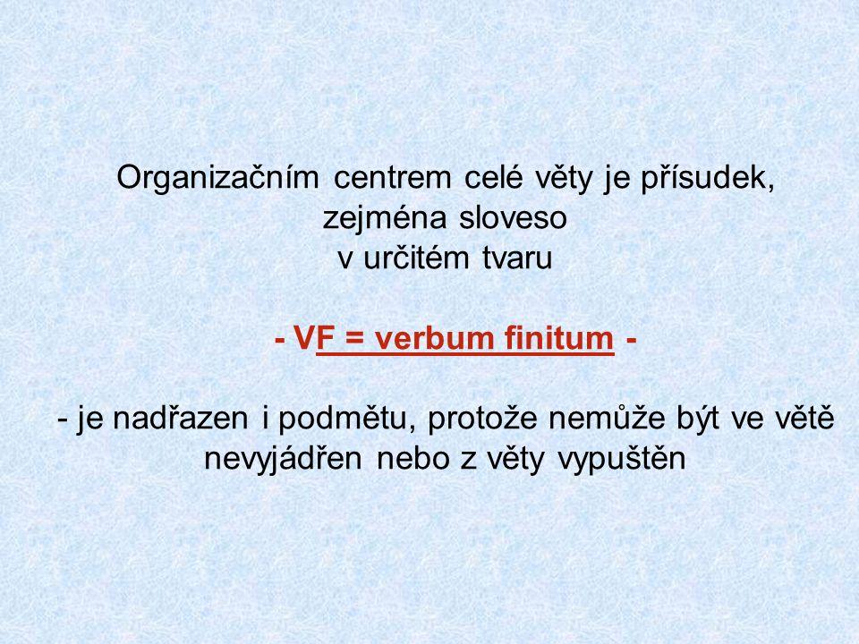 Organizačním centrem celé věty je přísudek, zejména sloveso v určitém tvaru - VF = verbum finitum - - je nadřazen i podmětu, protože nemůže být ve větě nevyjádřen nebo z věty vypuštěn