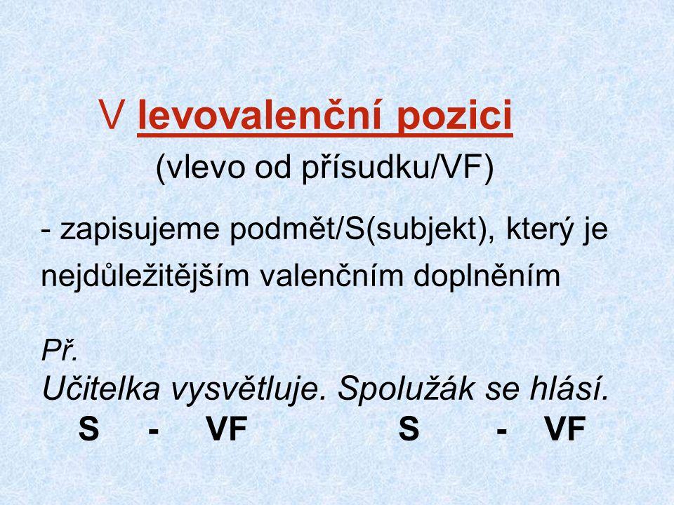 V levovalenční pozici (vlevo od přísudku/VF) - zapisujeme podmět/S(subjekt), který je nejdůležitějším valenčním doplněním Př.