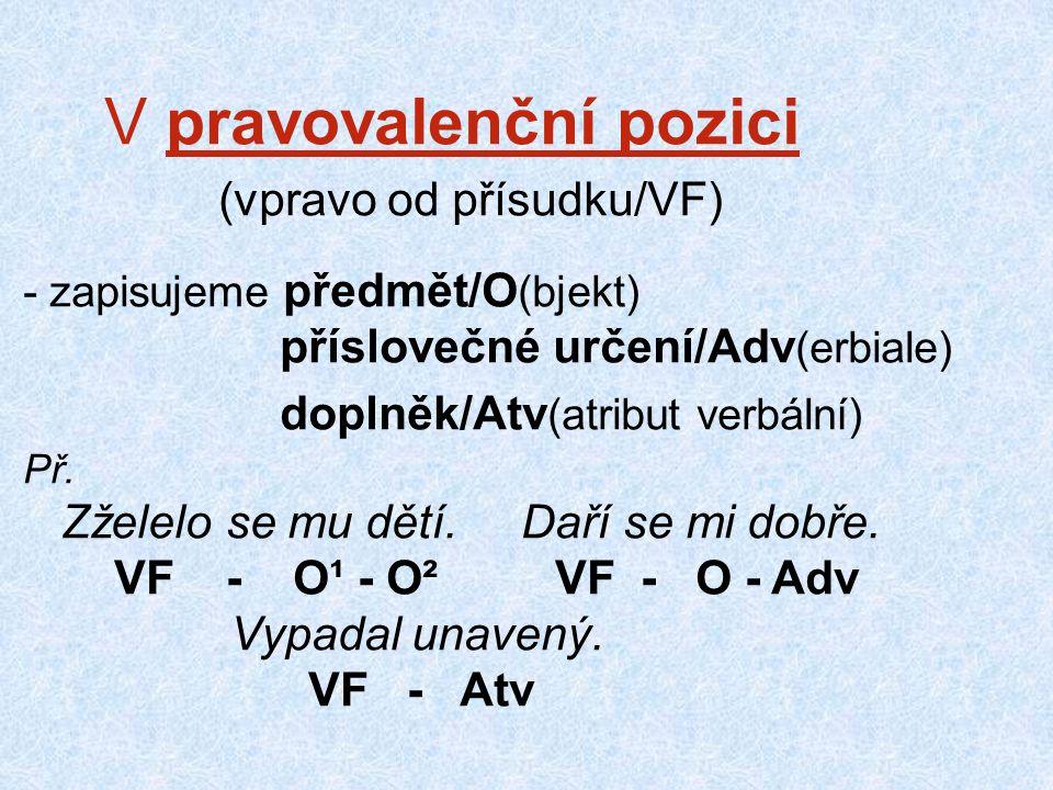 V pravovalenční pozici (vpravo od přísudku/VF) - zapisujeme předmět/O (bjekt) příslovečné určení/Adv (erbiale) doplněk/Atv (atribut verbální) Př.
