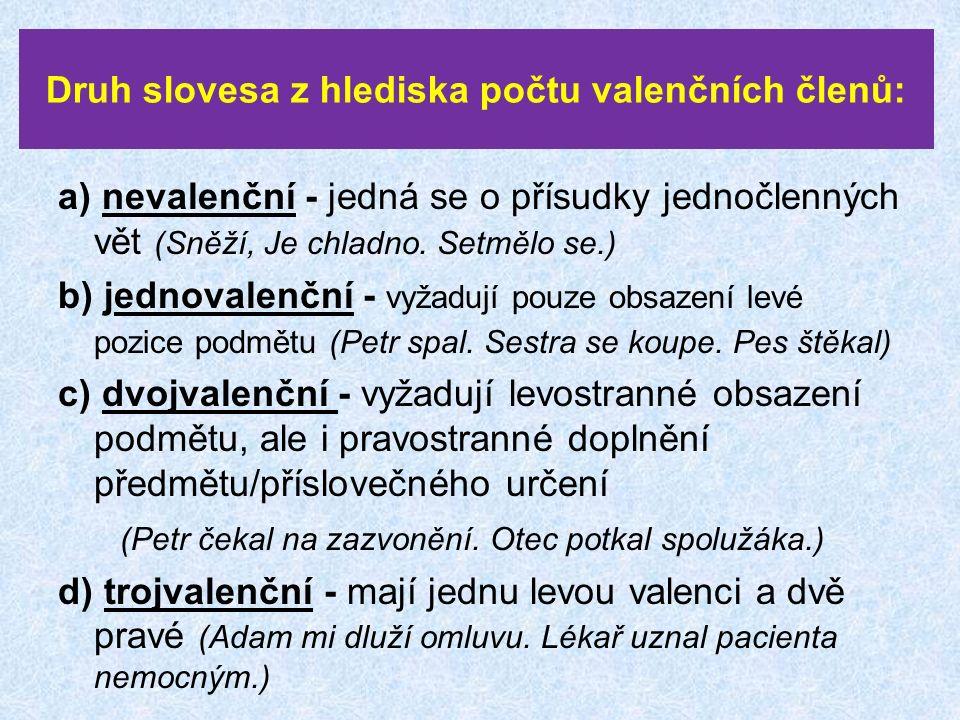 Druh slovesa z hlediska počtu valenčních členů: a) nevalenční - jedná se o přísudky jednočlenných vět (Sněží, Je chladno.