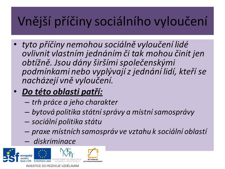 Vnější příčiny sociálního vyloučení tyto příčiny nemohou sociálně vyloučení lidé ovlivnit vlastním jednáním či tak mohou činit jen obtížně.