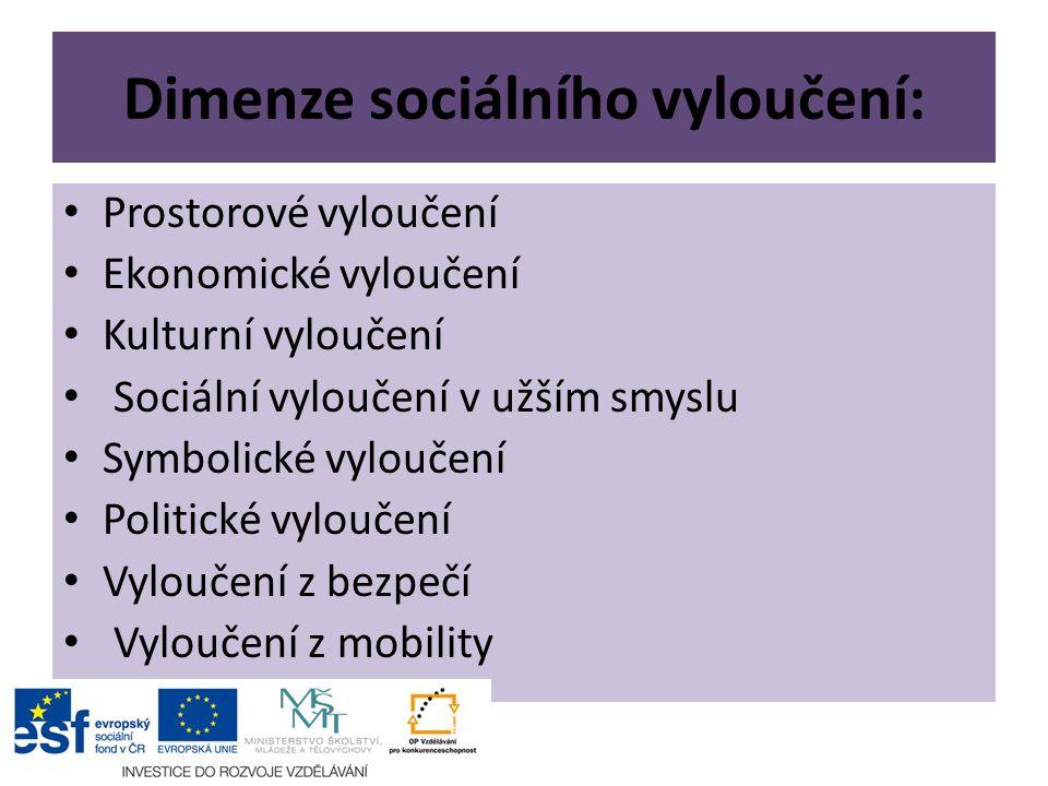 Dimenze sociálního vyloučení: Prostorové vyloučení Ekonomické vyloučení Kulturní vyloučení Sociální vyloučení v užším smyslu Symbolické vyloučení Politické vyloučení Vyloučení z bezpečí Vyloučení z mobility