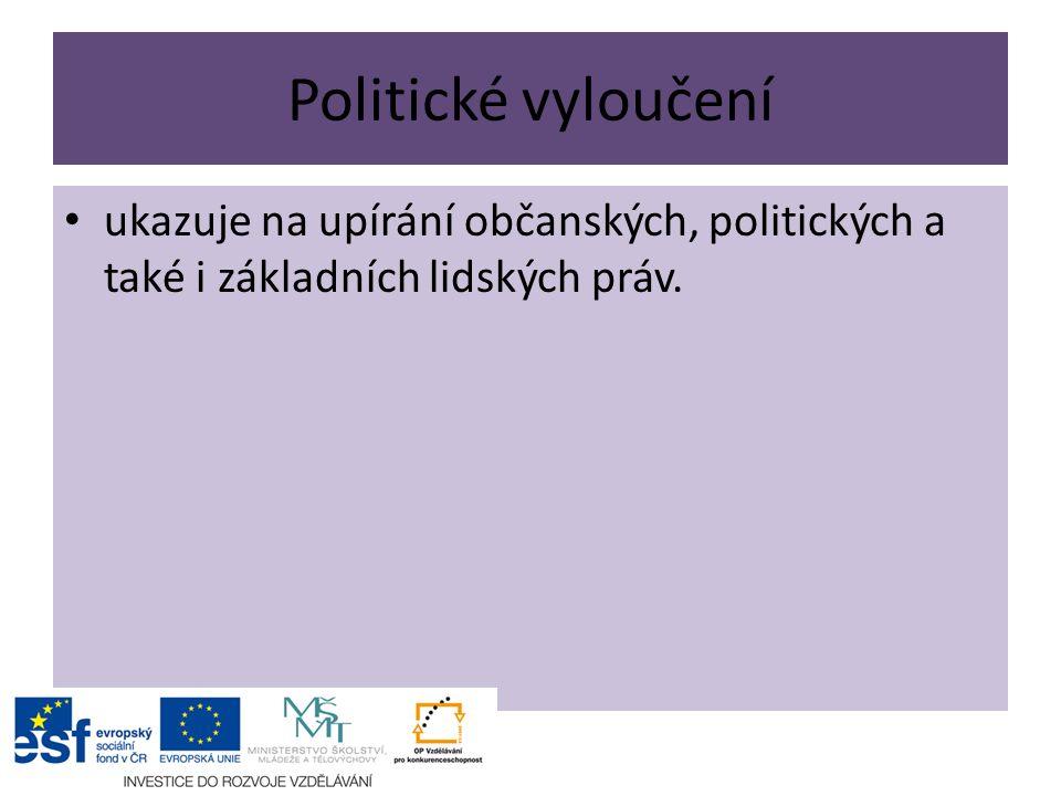 Politické vyloučení ukazuje na upírání občanských, politických a také i základních lidských práv.