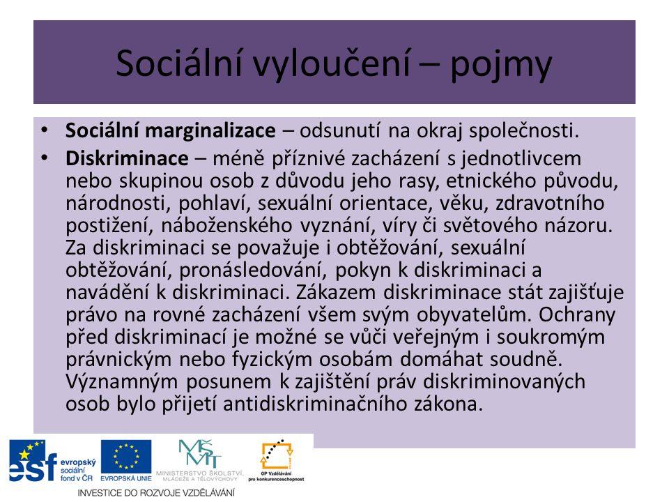 Sociální vyloučení – pojmy Sociální marginalizace – odsunutí na okraj společnosti.