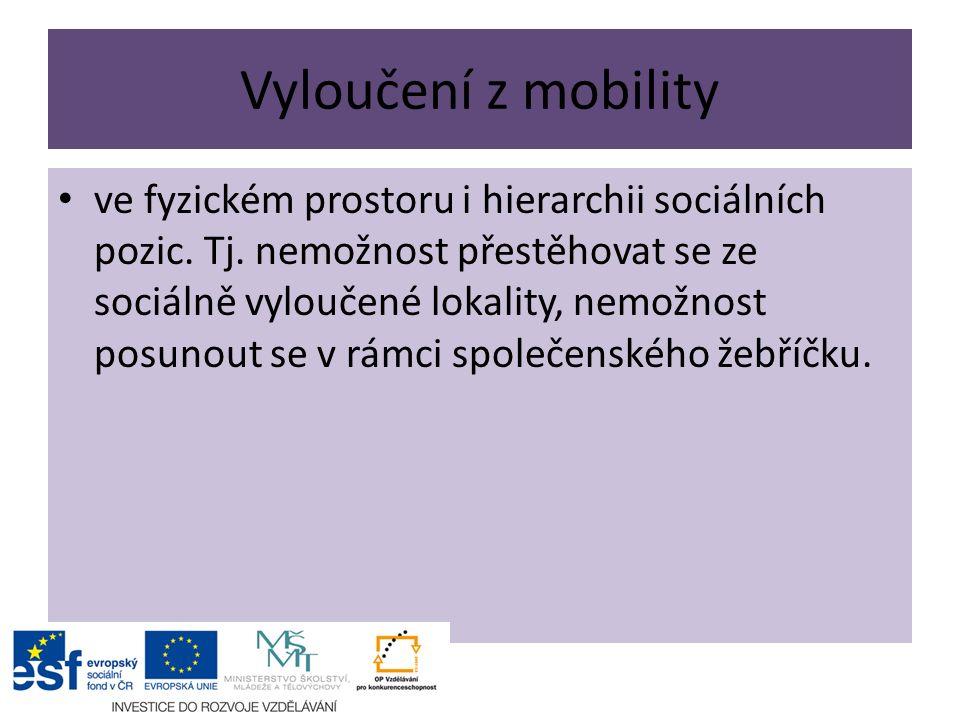 Vyloučení z mobility ve fyzickém prostoru i hierarchii sociálních pozic.