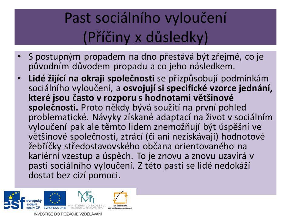 Past sociálního vyloučení (Příčiny x důsledky) S postupným propadem na dno přestává být zřejmé, co je původním důvodem propadu a co jeho následkem.