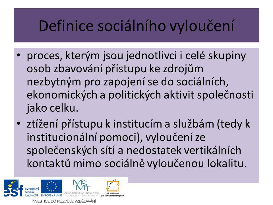 Definice sociálního vyloučení proces, kterým jsou jednotlivci i celé skupiny osob zbavováni přístupu ke zdrojům nezbytným pro zapojení se do sociálních, ekonomických a politických aktivit společnosti jako celku.