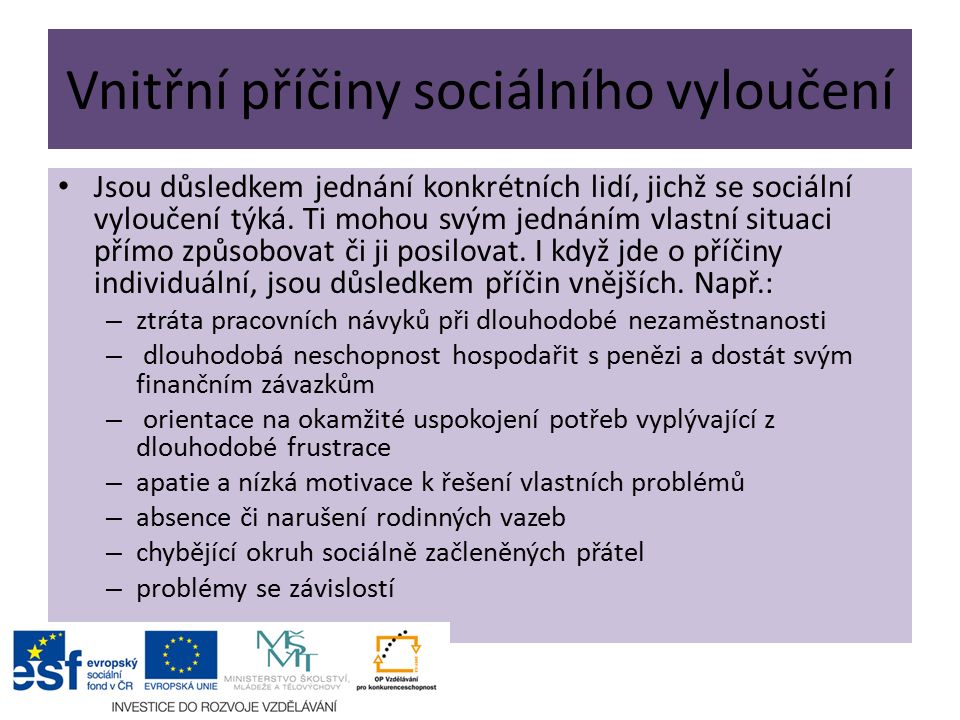Vnitřní příčiny sociálního vyloučení Jsou důsledkem jednání konkrétních lidí, jichž se sociální vyloučení týká.