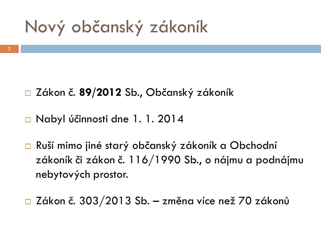 Nový občanský zákoník 2  Zákon č. 89/2012 Sb., Občanský zákoník  Nabyl účinnosti dne 1.