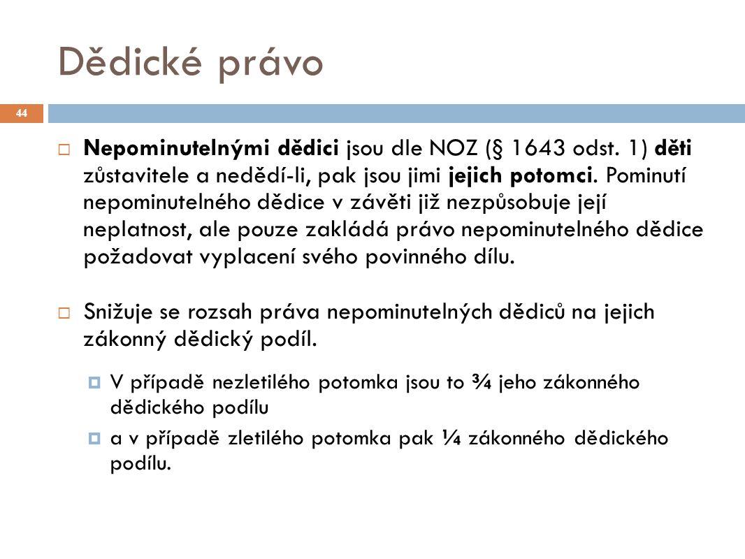 Dědické právo 44  Nepominutelnými dědici jsou dle NOZ (§ 1643 odst.