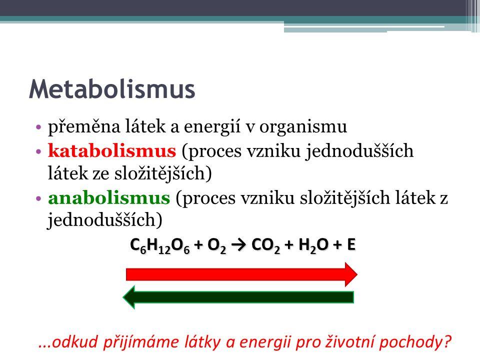 Metabolismus přeměna látek a energií v organismu katabolismus (proces vzniku jednodušších látek ze složitějších) anabolismus (proces vzniku složitějších látek z jednodušších) C 6 H 12 O 6 + O 2 → CO 2 + H 2 O + E...odkud přijímáme látky a energii pro životní pochody