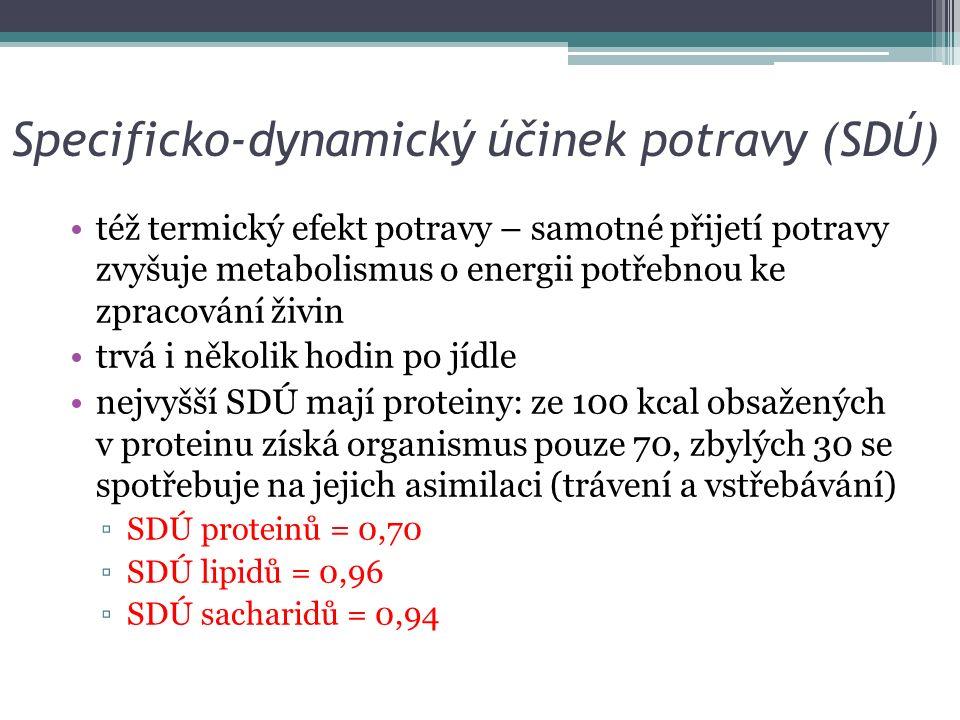 Specificko-dynamický účinek potravy (SDÚ) též termický efekt potravy – samotné přijetí potravy zvyšuje metabolismus o energii potřebnou ke zpracování živin trvá i několik hodin po jídle nejvyšší SDÚ mají proteiny: ze 100 kcal obsažených v proteinu získá organismus pouze 70, zbylých 30 se spotřebuje na jejich asimilaci (trávení a vstřebávání) ▫SDÚ proteinů = 0,70 ▫SDÚ lipidů = 0,96 ▫SDÚ sacharidů = 0,94