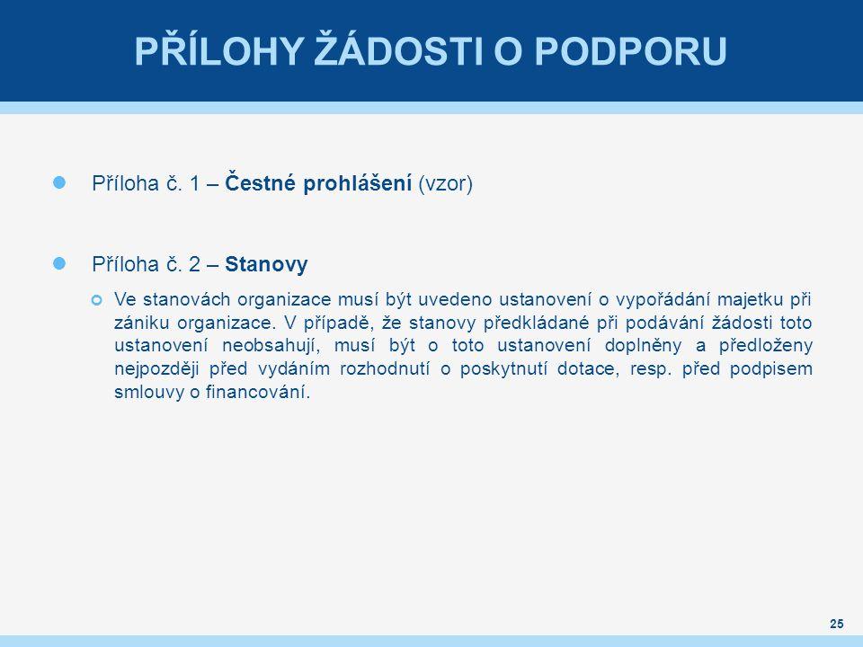 PŘÍLOHY ŽÁDOSTI O PODPORU Příloha č. 1 – Čestné prohlášení (vzor) Příloha č. 2 – Stanovy Ve stanovách organizace musí být uvedeno ustanovení o vypořád