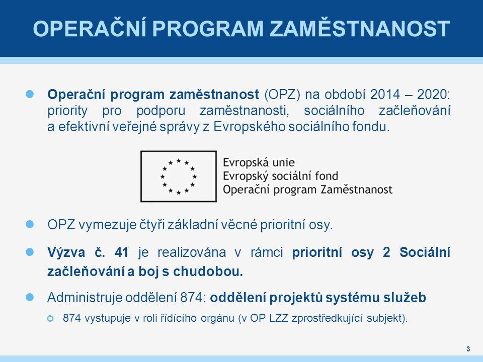 OPERAČNÍ PROGRAM ZAMĚSTNANOST Operační program zaměstnanost (OPZ) na období 2014 – 2020: priority pro podporu zaměstnanosti, sociálního začleňování a efektivní veřejné správy z Evropského sociálního fondu.