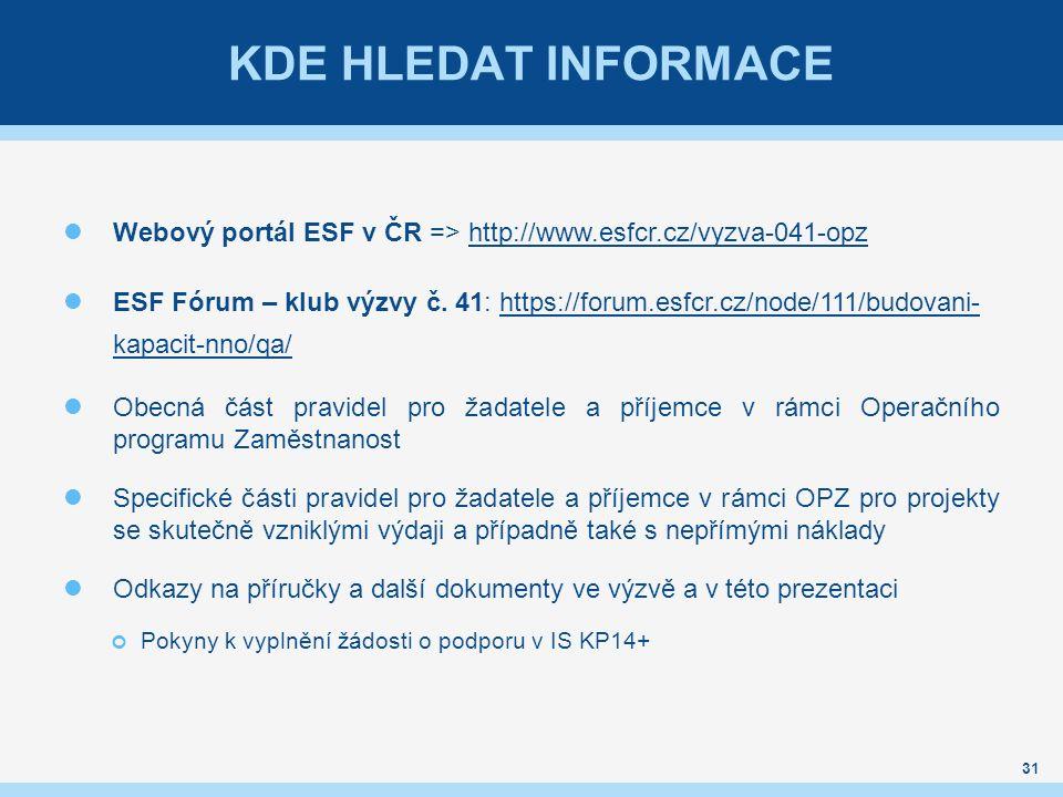 KDE HLEDAT INFORMACE Webový portál ESF v ČR => http://www.esfcr.cz/vyzva-041-opzhttp://www.esfcr.cz/vyzva-041-opz ESF Fórum – klub výzvy č. 41: https: