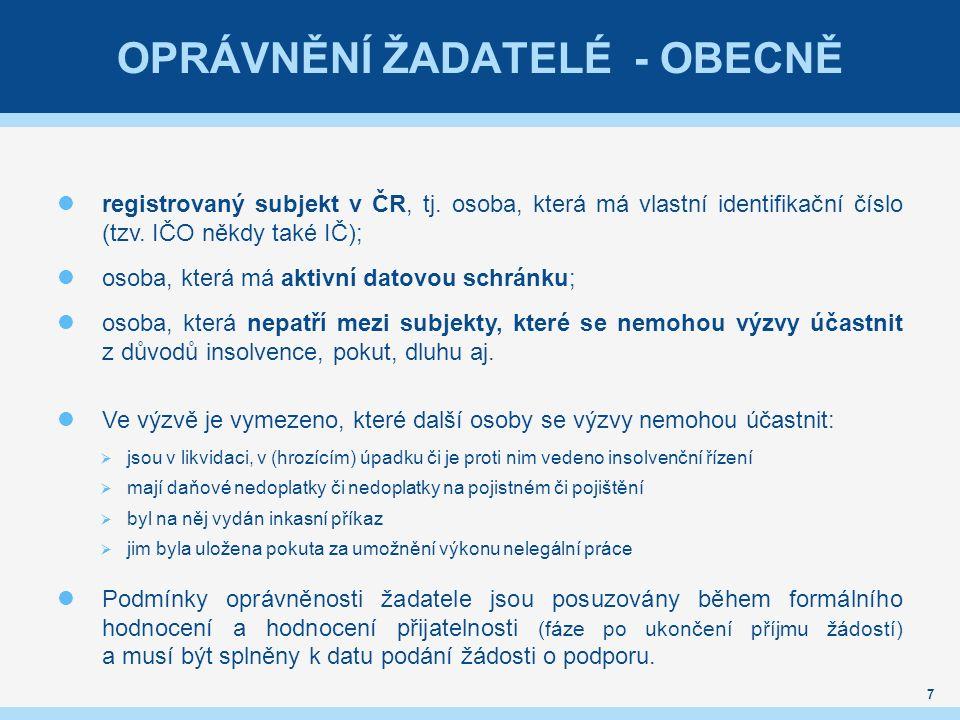 OPRÁVNĚNÍ ŽADATELÉ - OBECNĚ registrovaný subjekt v ČR, tj. osoba, která má vlastní identifikační číslo (tzv. IČO někdy také IČ); osoba, která má aktiv