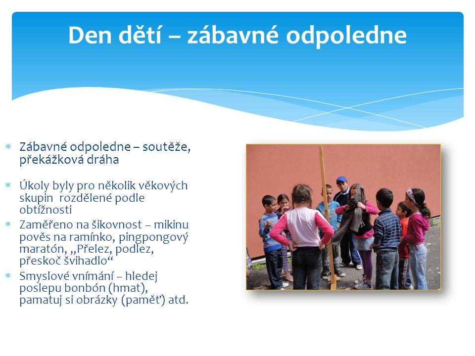 Den dětí – zábavné odpoledne  Zábavné odpoledne – soutěže, překážková dráha  Úkoly byly pro několik věkových skupin rozdělené podle obtížnosti  Zam