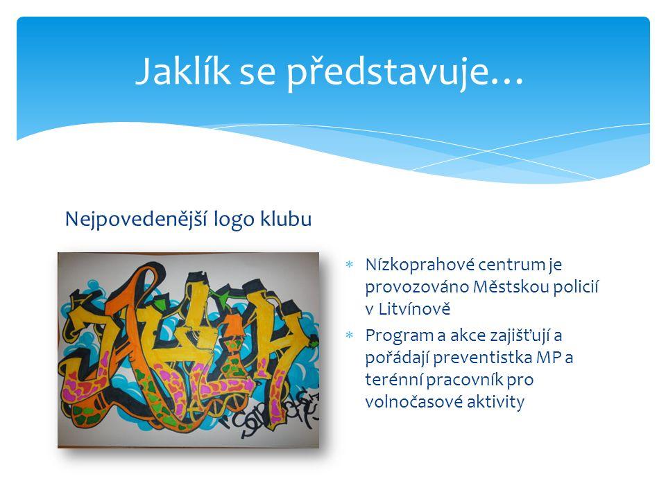 Jaklík se představuje… Nejpovedenější logo klubu  Nízkoprahové centrum je provozováno Městskou policií v Litvínově  Program a akce zajišťují a pořád