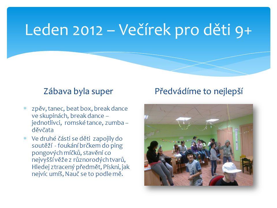 Leden 2012 – Večírek pro děti 9+ Zábava byla super  zpěv, tanec, beat box, break dance ve skupinách, break dance – jednotlivci, romské tance, zumba –