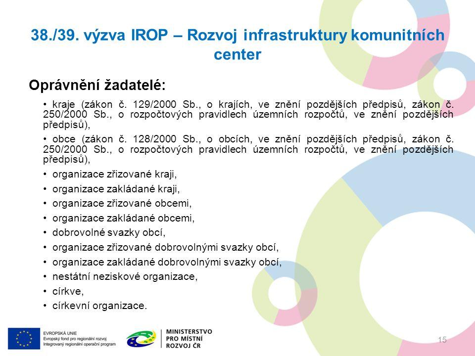 38./39. výzva IROP – Rozvoj infrastruktury komunitních center Oprávnění žadatelé: kraje (zákon č.