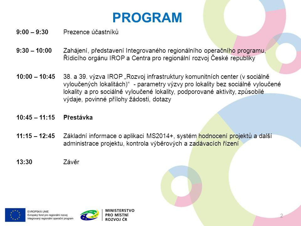 9:00 – 9:30Prezence účastníků 9:30 – 10:00Zahájení, představení Integrovaného regionálního operačního programu, Řídicího orgánu IROP a Centra pro regionální rozvoj České republiky 10:00 – 10:45 38.