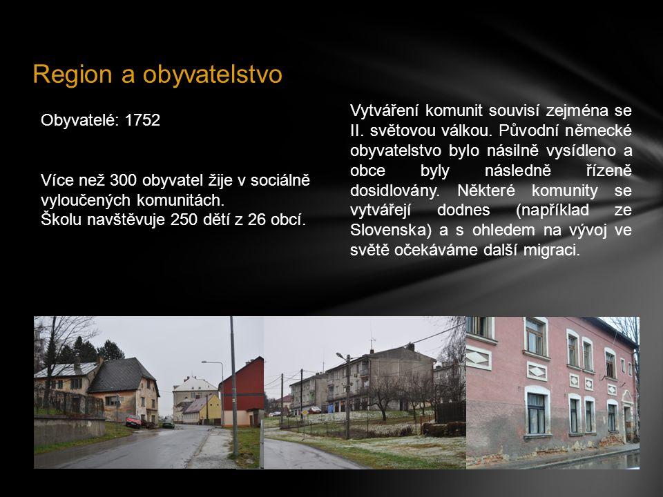 Region a obyvatelstvo Obyvatelé: 1752 Více než 300 obyvatel žije v sociálně vyloučených komunitách. Školu navštěvuje 250 dětí z 26 obcí. Vytváření kom