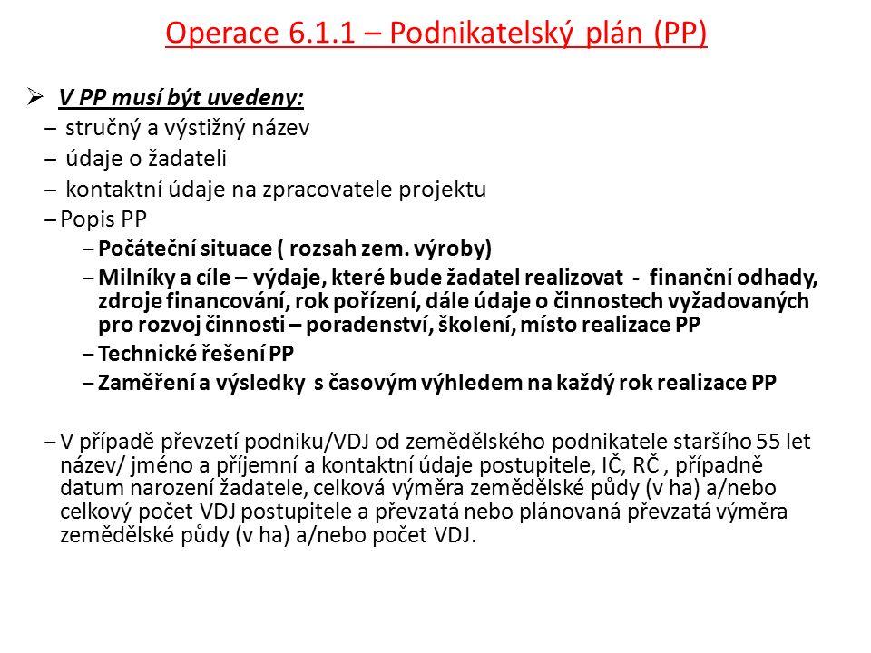 Operace 6.1.1 – Podnikatelský plán (PP)  V PP musí být uvedeny: ‒ stručný a výstižný název ‒ údaje o žadateli ‒ kontaktní údaje na zpracovatele projektu ‒Popis PP ‒Počáteční situace ( rozsah zem.