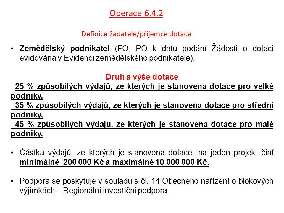 Operace 6.4.2 Definice žadatele/příjemce dotace Zemědělský podnikatel (FO, PO k datu podání Žádosti o dotaci evidována v Evidenci zemědělského podnika