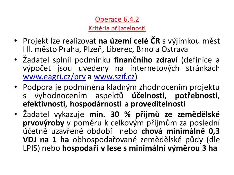 Operace 6.4.2 Kritéria přijatelnosti Projekt lze realizovat na území celé ČR s výjimkou měst Hl. město Praha, Plzeň, Liberec, Brno a Ostrava Žadatel s