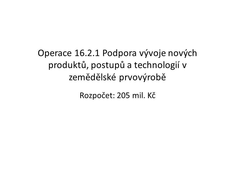 Operace 16.2.1 Podpora vývoje nových produktů, postupů a technologií v zemědělské prvovýrobě Rozpočet: 205 mil. Kč