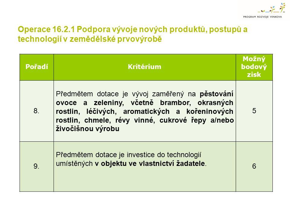 Operace 16.2.1 Podpora vývoje nových produktů, postupů a technologií v zemědělské prvovýrobě PořadíKritérium Možný bodový zisk 8. Předmětem dotace je