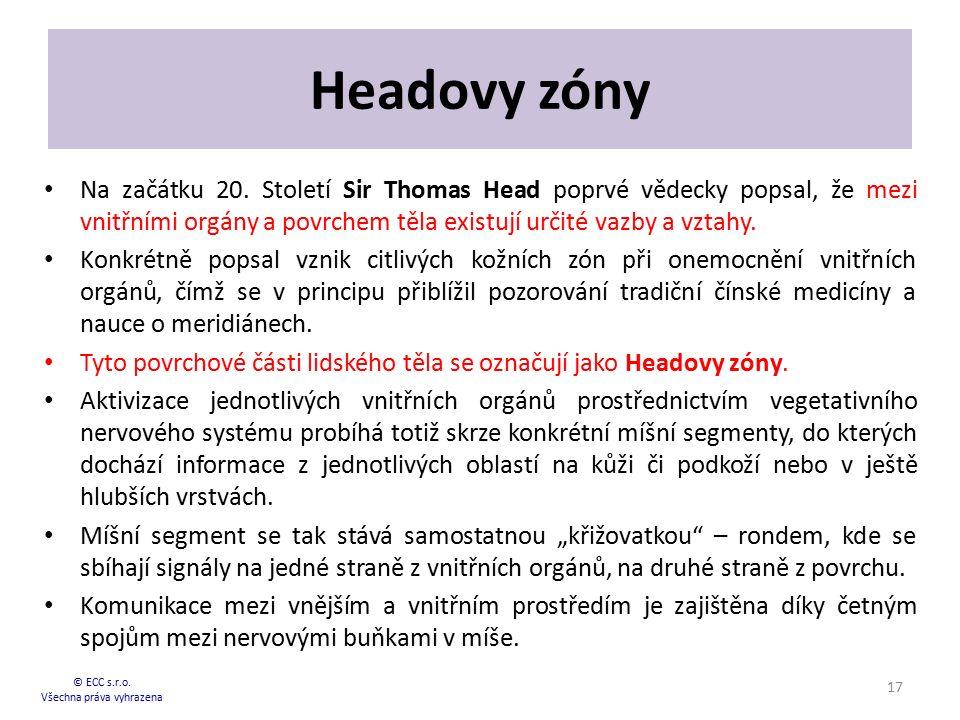 Headovy zóny Na začátku 20. Století Sir Thomas Head poprvé vědecky popsal, že mezi vnitřními orgány a povrchem těla existují určité vazby a vztahy. Ko