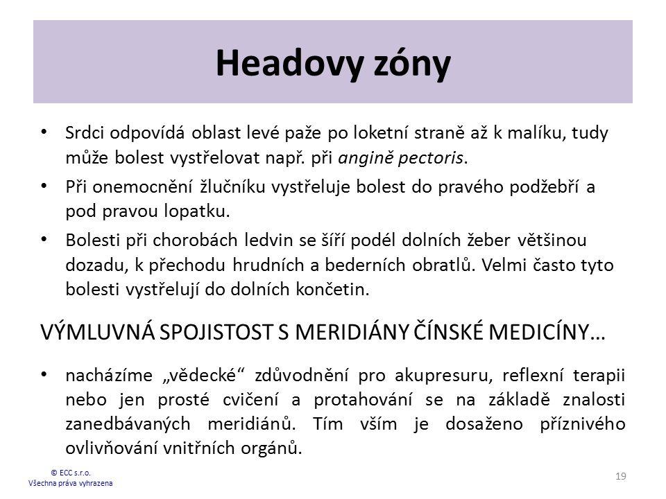 Headovy zóny Srdci odpovídá oblast levé paže po loketní straně až k malíku, tudy může bolest vystřelovat např. při angině pectoris. Při onemocnění žlu