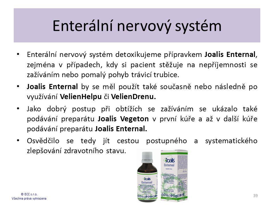 Enterální nervový systém Enterální nervový systém detoxikujeme přípravkem Joalis Enternal, zejména v případech, kdy si pacient stěžuje na nepříjemnost