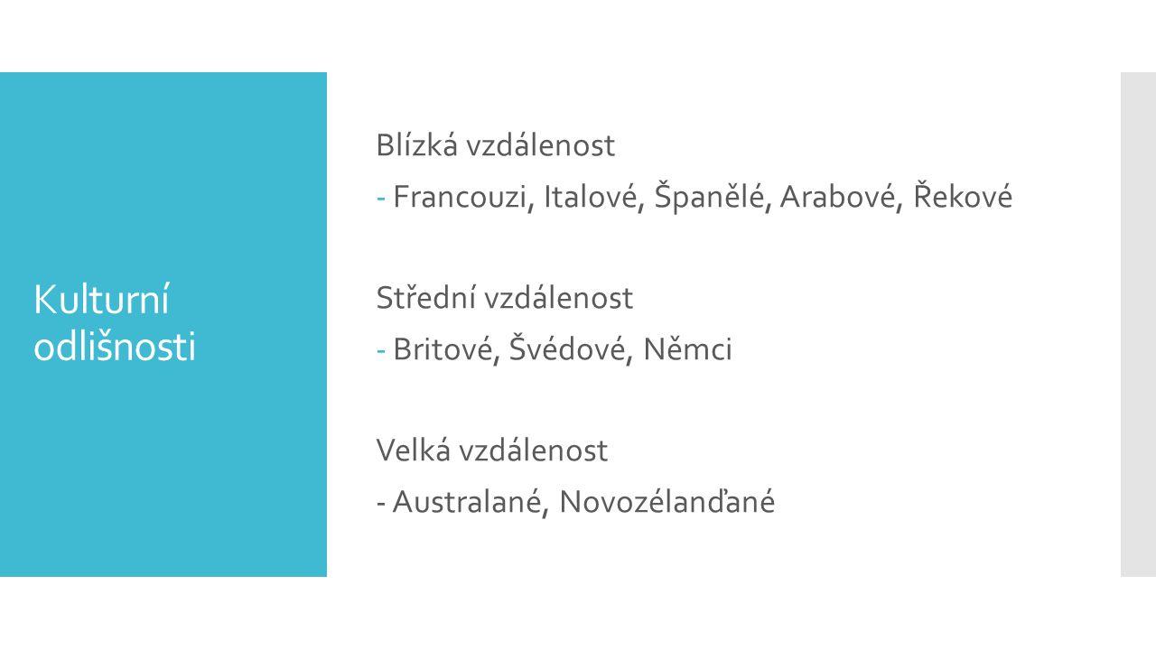 Kulturní odlišnosti Blízká vzdálenost -Francouzi, Italové, Španělé, Arabové, Řekové Střední vzdálenost -Britové, Švédové, Němci Velká vzdálenost - Australané, Novozélanďané