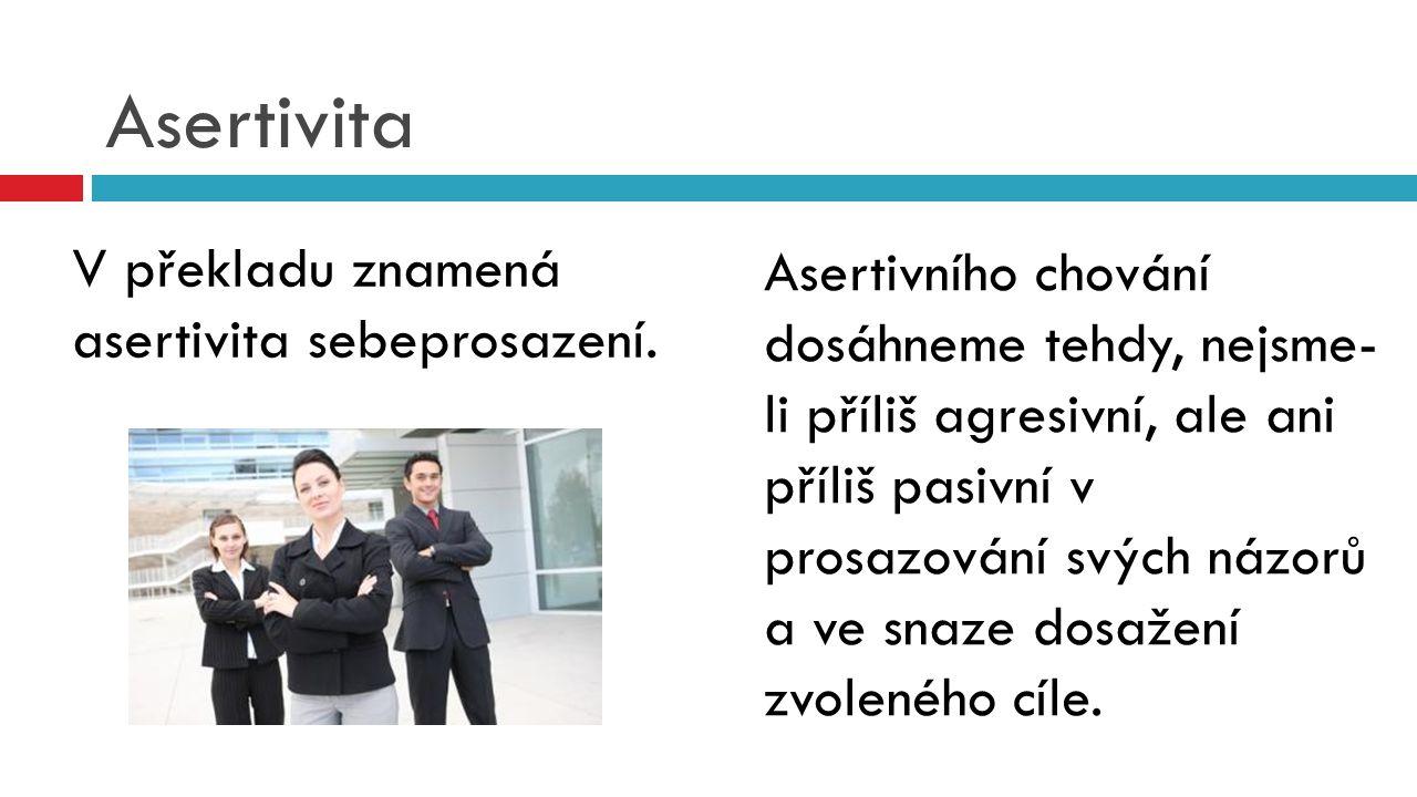 Asertivita Asertivního chování dosáhneme tehdy, nejsme- li příliš agresivní, ale ani příliš pasivní v prosazování svých názorů a ve snaze dosažení zvoleného cíle.